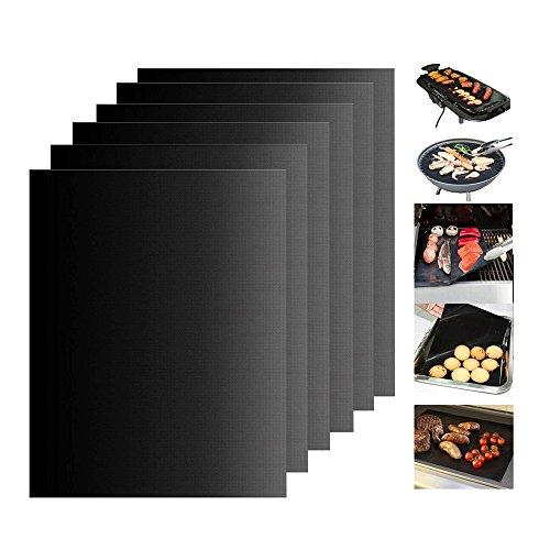 KONKY BBQ Grill Matte (6 Pcs), Antihaft Teflon Barbecue Matten Outdoor Grill Matte Kochen Pad mit FDA-zertifizierten Einrichtung Reusable für Gas, Holzkohle und Electric Grill und Backofen