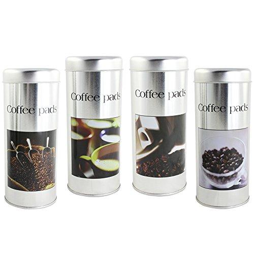 com-four 4X Kaffeepad-Dose, Dekodose, Verschiedene Dekore, Aufbewahrungsbehälter für Kaffeepads (4...