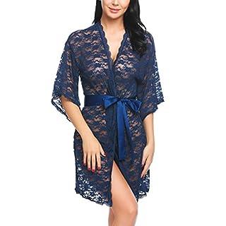 AIMADO Damen Kimono Semi-Transparente Blumenspitze mit Satinband Langarm Nachthemd mit G-String Nachtwäsche