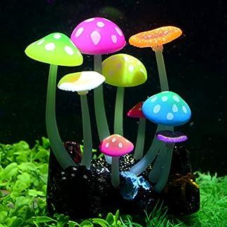 Uniclife Glowing Effect Artificial Mushroom Aquarium Plant Decor Ornament Decoration for Fish Tank Landscape 22