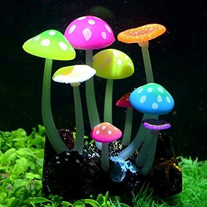 Uniclife Glowing Effect Artificial Mushroom Aquarium Plant Decor Ornament Decoration for Fish Tank Landscape 1