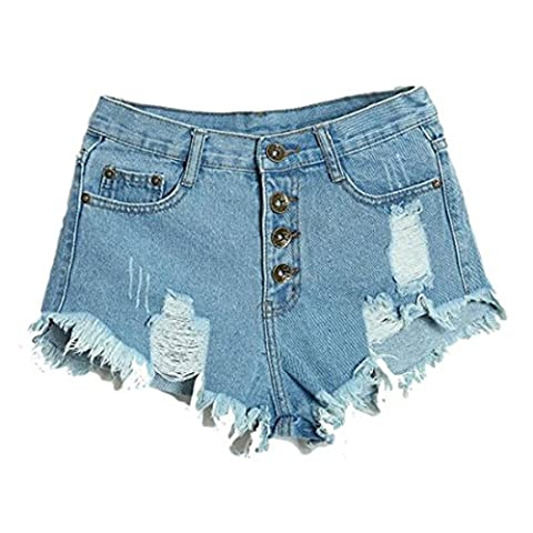 Women's High Waisted Fashion Slim Fit Jeans Shorts SkyBlue / S