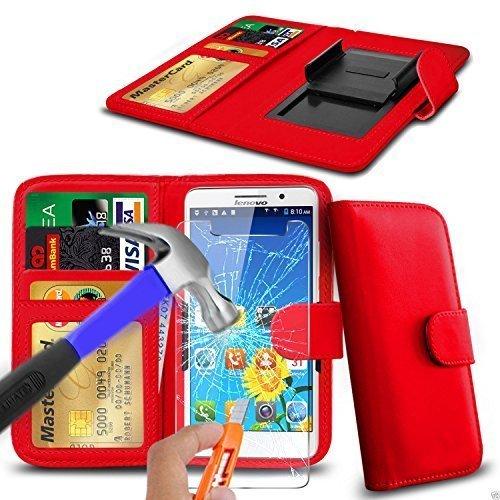 N4U Online - verschiedene Farben Clip Kunstleder Hülle Tasche & Sicherheitsglas für Timmy M7 - Rot