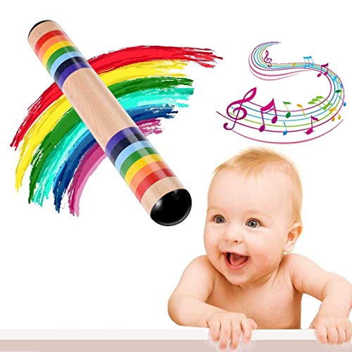 Aiviel Multicolor Wood Rainmaker, Kids Rain Stick Musical Instrument, Wood Rainstick for Baby Toddlers