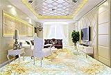 LANYU Benutzerdefinierte 3D Bodenfliese Tapete PVC Wasserdichte Tapete Badezimmer Relief Blume Marmor 3D Boden Tapete, 400 * 280 cm