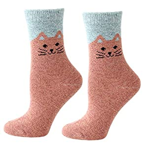 Wanghuaner Unisex Winter Socken Faux Wolle Crew Socken Kontrastfarbe Cute Meow Cat Thermal Strumpfwaren