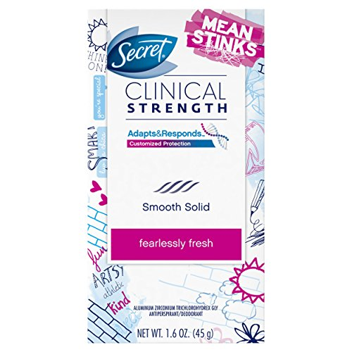 Secret Clinical Strength Mean Stinks Fearlessly Fresh Scent Advanced Solid Antiperspirant & Deodorant 1.6 Oz by Secret BEAUTY (English Manual)