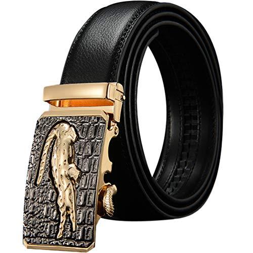 ES- Cowhide Cinturón De Piel De Vaca Genuino De Los Hombres Cinturón De Cocodrilo 109.7-124.7 CM Cinturón De Los Hombres Cinturón De Hebilla Automática Caja De Regalo Cinturón