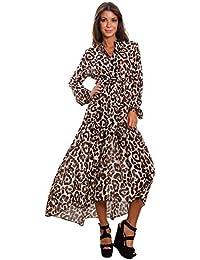 74b1f980cb74 Toocool - Vestito Donna Scollato Leopardato Leo Animalier Elegante Abito  Velato GI-98204  Taglia