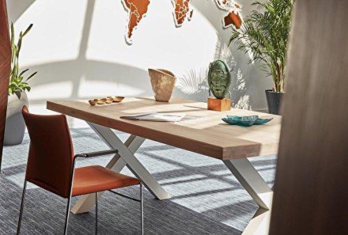 COMIFORT NRBLN - Mesa de Comedor Oficina Despacho Moderna Loft Industrial de Roble Macizo Blanqueado Barnizado y Patas de Acero