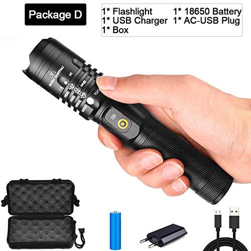 Love+djl+Led Taschenlampe,65000 Lumen LED-Taschenlampe Ultra Bright leistungsstärkste USB-Taschenlampe Zoomable Laterne 18650 Best Camping Angeln Jagd Lampe@Paket D -
