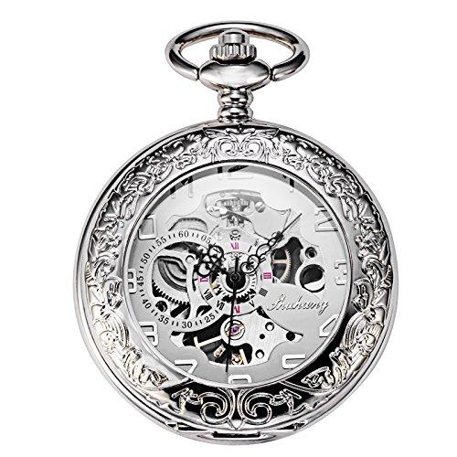TREEWETO Silber Mechanische Taschenuhr Herren Skelett Uhren Spezielle Lupe Halber Jäger Elegantes Gehäuse Graviert Taschenuhren mit kette und Geschenkbox