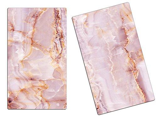 Herdabdeckplatten, Schneidebrett aus Glas, Marmor Optik Rosa HA617620943 Variante 2er Set (2 Panels)