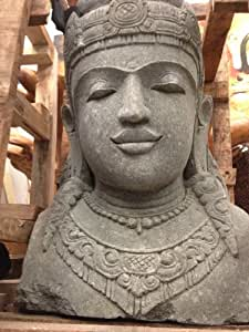 Tête de bouddha en pierre naturelle résistante kepala greenstone de jardin terrasse 80 cm
