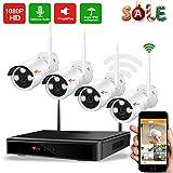 [Audioaufnahme ] CORSEE Plug and Play 1080P Videoüberwachung Set,8 Kanal NVR mit hochauflösend 4 Stück 1080P WiFi Audio Kameras im Außenbereich,ohne Festplatte
