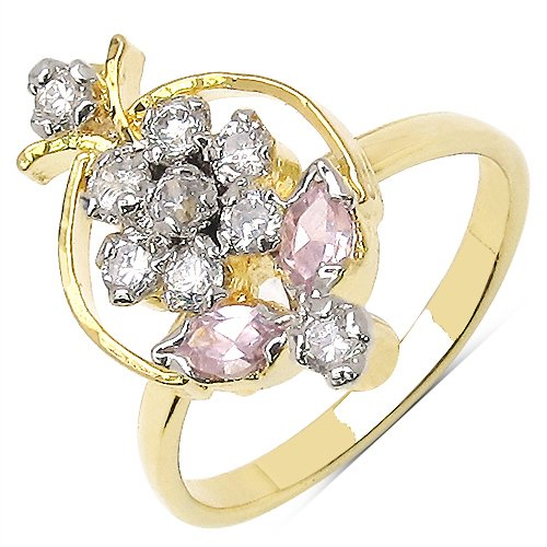 Johareez 2.40 Grams Pink & White Cubic Zircon Gold Plated Ring