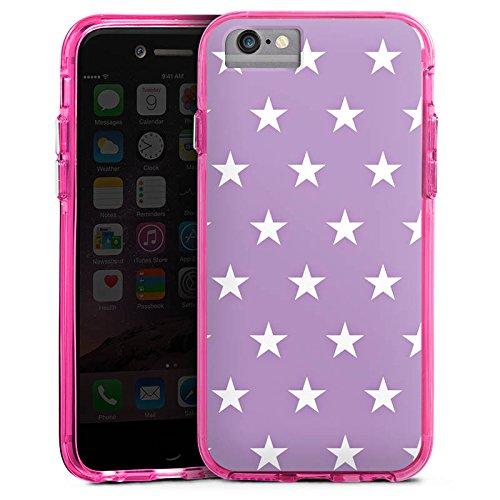 Apple iPhone 6s Bumper Hülle Bumper Case Glitzer Hülle Sterne Stars Polka Bumper Case transparent pink