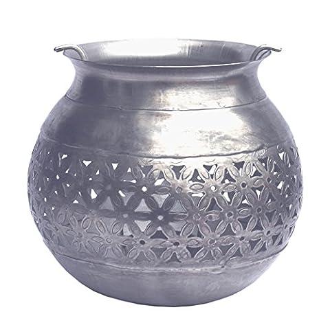 Silver Coloured Metal Filigree Lantern with Removable Tea Light Holder
