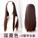 WIAGHUAS Perücke langes Haar glattes Haar unsichtbares nahtloses Haarteil natürliche realistische Mode Farbverlauf Haarfarbe Set,tief kastanienbraun