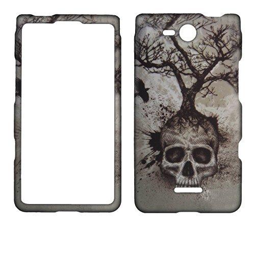 Night Totenkopf Tree LG Lucid 4G VS840(Verizon Wireless) Schutzhülle Hard Protector Handy Cover Snap auf Fall gummierte Matte Oberfläche Hard Shells (Lg Lucid 4g Handy Vs840 Cover)