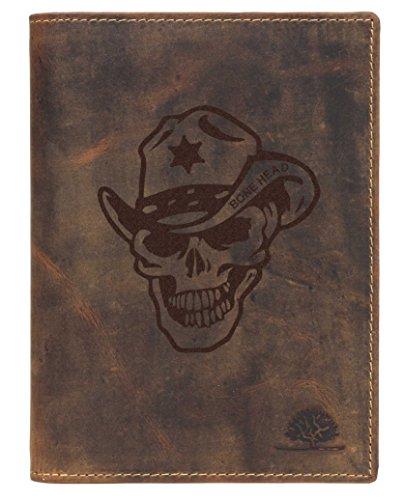 Greenburry Vintage Bone Head BH03 Leder Ausweishülle mit Totenkopf Motiv braun