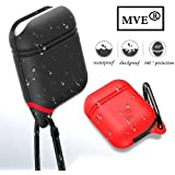 MVE Silicone Shock Proof Protection Sleeve For Rectangular Apple AirPods With Keychain Clip For Wireless Headset (Color May Vary)