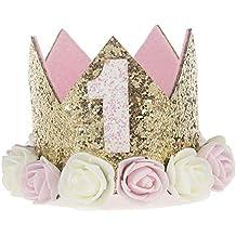 Ouinne 1 Ano de Estilo Princesa bebé Flor Corona Diadema cumpleaños Accesorios para el Cabello