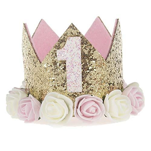 Ouinne 1 Ano Estilo Princesa bebé Flor Corona Diadema