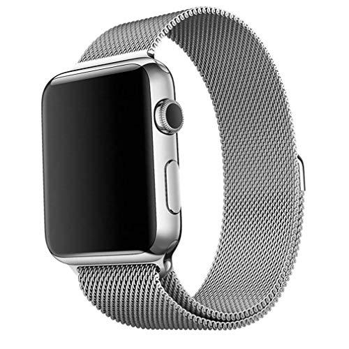 适用于Apple Watch Strap 42mm,Apple Watch Strap 38mm 42mm不锈钢带可调磁性扣环手链,适用于iWatch Apple Watch系列3 2 1