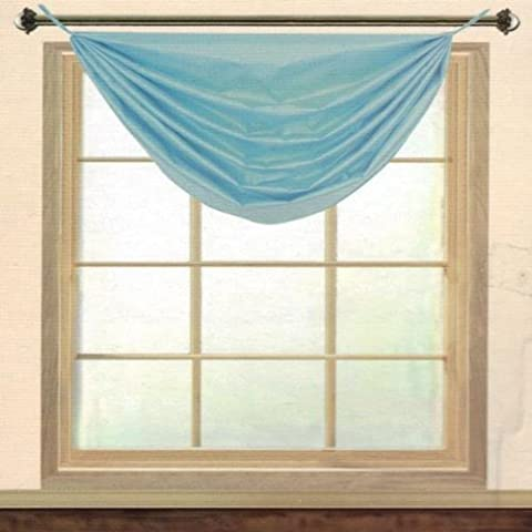 Editex Home Textiles Elaine Grommets without Trim Waterfall Valance, 36 by 37-Inch, Aqua