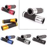 Punos de manillar Par 7/8 aluminio y caucho gel ergonomico CNC punos del manillar de motocicleta a mano empuaduras para los deportes MTB Bicicleta (Plata)