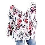 TianWlio Langarm Bluse Damen Frauen Mode Lässige Mode V-Ausschnitt Shirt Floral Lange Ärmel Beiläufige Lose Einfache Übergröße Tops
