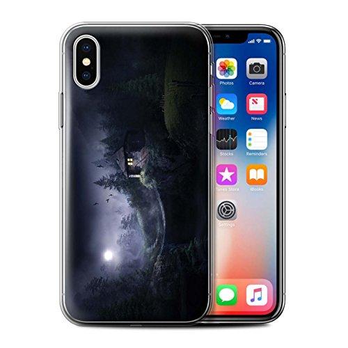 Officiel Elena Dudina Coque / Etui Gel TPU pour Apple iPhone X/10 / Oublié Temple Design / Fantaisie Paysage Collection Forêt Brumeuse