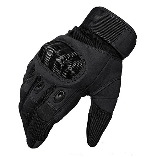 TACVASEN Taktische Handschuhe Winter Motorrad Handschuhe Herren Vollfinger Army Gloves Biking Ski Handschuhe (Schwarz, M) - 2