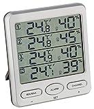 TFA Dostmann 30.3054 Klima-Monitor Thermomètre Hygromètre Radio Climat Contrôle Moniteur, argent avec batteries