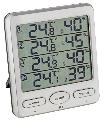 TFA Dostmann Funk-Thermo-Hygrometer Klima-Monitor TFA 30.3054 Raumklimakontrolle (Silber mit Batterien)
