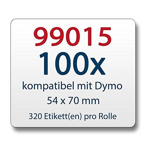 100x Label kompat. zu Dymo 99015 54x70mm 320 Label Etiketten pro Rolle (Industrie-thermodirekt)
