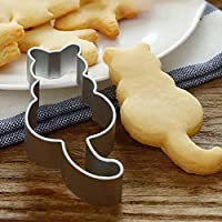 sunnymi® Cute Cat Shaped Aluminium Mold Sugarcraft Cake Cookies Pastry Baking Cutter Mould Cookie Cutters Mould Decorating Tool (Silver)