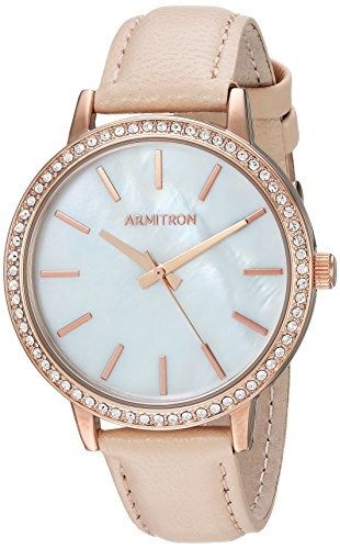 Armitron Women's 75/5503MPRGBH Swarovski Crystal Accented Rose Gold-Tone and Blush Pink Leather Strap Watch