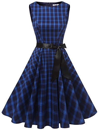 age 1950er PartyKleid Rockabilly Ärmellos Retro CocktailKleid Navy Grid XL (Bild Grid)