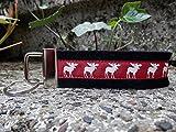 Schlüsselanhänger Schlüsselband Wollfilz schwarz Elche rot Geschenk!