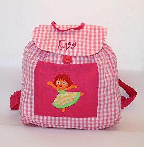 Imagen de bolsa  bailarina, en tela vichy cuadros rosas y blancos, personalizada con nombre. / 31x26x13cm./