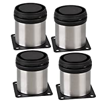 BQLZR N10370 Furniture Cabinet Metal Legs Adjustable Stainless Steel Kitchen Feet Round Black and Silver 50 x 60mm Pack of 4