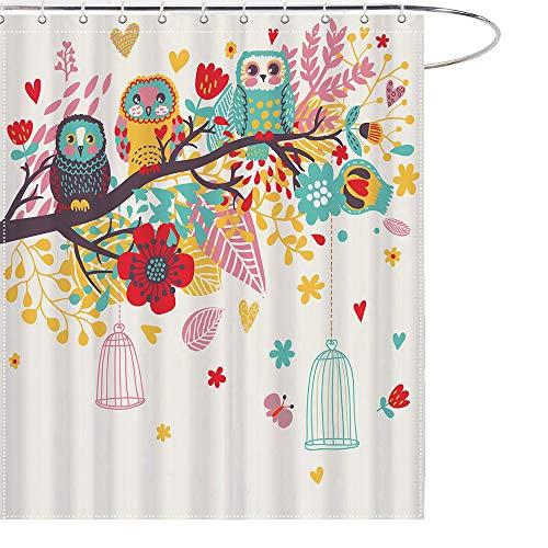 ume Badezimmer-Dekoration, Duschvorhänge, Haken, 12er-Pack, Schneefall auf Bäumen, Deko, Polyester, wasserdicht, für Badezimmer, ca. 69 x 178 cm 69x70 Inch Eule ()