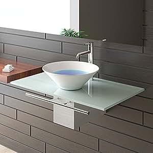 waschplatzl sung milchglasplatte keramikbecken. Black Bedroom Furniture Sets. Home Design Ideas