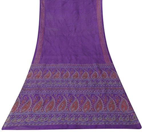 Jahrgang Paisley Printed Silk Blend Lila Saree Kleid machen Sari Craft (Bollywood Dekorationen Fuß)