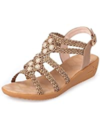JITIAN Damen Sandalen-Bohemians Shoes Open Toe Sommer Casual Comfort Beach Shoes