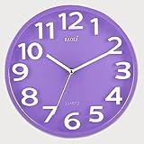 CGN Arbeiten Sie einfache Wanduhr Schlafzimmer Schlafzimmer Mute Clock Große Tabelle zu den drei Moderne Linked - Dimensional Kreativ-Quarz-Uhren Persönlichkeit ( Farbe : Lila )