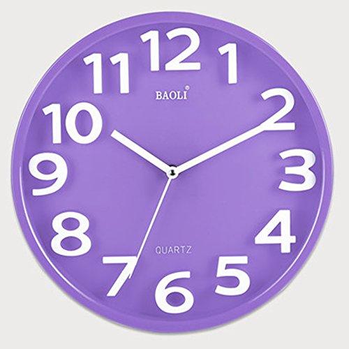 ASL Arbeiten Sie einfache Wanduhr Schlafzimmer Schlafzimmer Mute Clock Große Tabelle zu den drei Moderne Linked - Dimensional Kreativ-Quarz-Uhren Neu ( Farbe : Lila )
