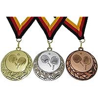 JoGo Medaille (Serie in den Farben Gold, Silber und Bronze), Motiv Tischtennis mit Band